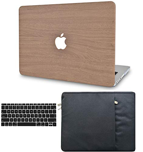 LuvCase 3 in 1 Laptop Case Compatible withMacBookPro 13' (2021/2020) with Touch Bar A2238 M1/A2251/A2289 Hard Shell Cover, Sleeve & Keyboard Cover (Brown Wood)