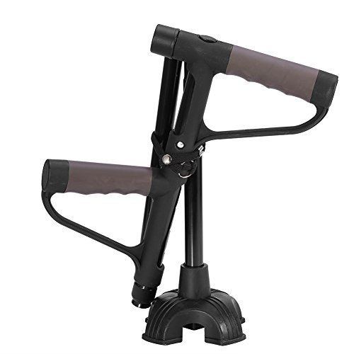 Walking Stick,Retractable Collapsible Anti-slip Double Cushioned T-handle Cane Portable Flexible Durable Walking Aid with LED Light for Old Man