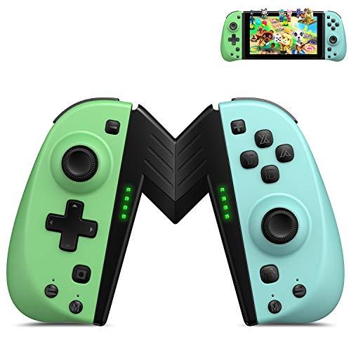 ECHTPower 2er-Set Wireless Controller für Nintendo Switch Joy-Con Neon Grün Neon Blau kabellos Joypads mit Grip programmierbare Joycons mit Turbo Dual Motors Bewegungssensor für Nintendo Controller