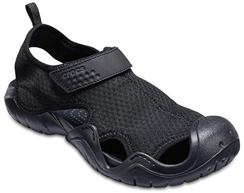 Crocs Men's Swiftwater Sandal Flat, black/black, 12 M US