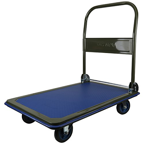 Olympia Tools 85-182 Folding & Rolling Flatbed Cart for Loading, Olive Green with Blue Bumper, 600 Lb. Load Capacity