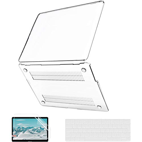 MacBook Pro 13 inch Case 2020-2016 Release A2338 M1 A2289 A2251 A2159 A1989 A1706 A1708, JGOO Crystal Clear Hard Cover with Keyboard Cover and Screen Protector for Mac Pro 13 with/Without Touch Bar