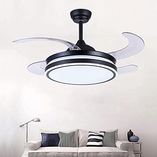 Luz del ventilador de techo del comedor Luz de ventilador invisible LED Conversión de frecuencia ultrafina Ventilador eléctrico silencioso Dormitorio Ventilador de la sala de estar Luz-black_42_inch