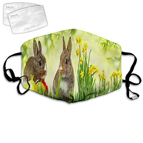Mundschutz Mouth Cover Face Cover Mehrfachverwendung Brown Litte Rabbits Wiese Grünes Gras Frühling Ostern Fotografie, Sturmhaube wiederverwendbar Winddicht