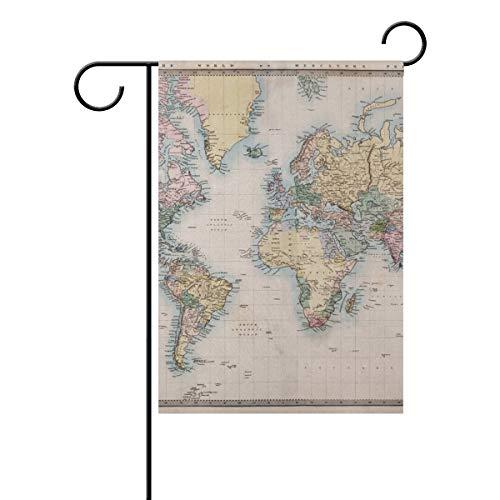 Jessgirl La Carte du Monde en Couleur 28 x 40 Pouces Drapeau de Jardin Vintage pour extérieur Double Face Cour Ferme décor Moderne de Patio