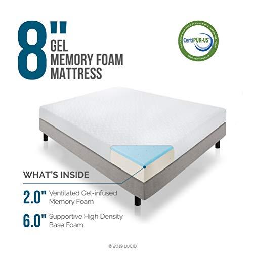 LUCID 8 Inch Gel Infused Memory Foam Mattress - Medium Firm Feel - CertiPUR-US Certified - 10 Year warranty - Twin XL with LUCID Encasement Mattress Protector - Twin XL