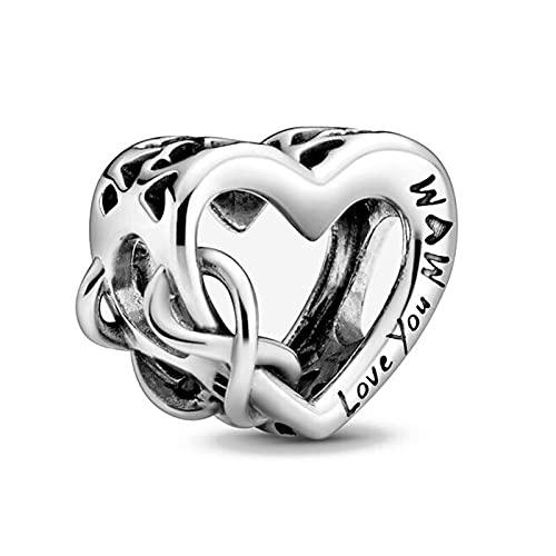 Pandora 925 colgante de joyería de plata esterlina Bofuer amor você mãe encanto amor grânulo ajuste prata esterlina coração pulseira jóias para mulher b