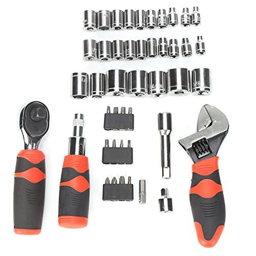Juego de llaves de vaso de 45 piezas Juego de herramientas de broca de destornillador de trinquete multiusos Llave de trinquete Juego de herramientas de combinación de brocas de llave de trinquete par