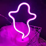OHLGT LED Neon Light, Neon Sign Pink Ghost Lamp with Base, Battery and USB Operated Neon Decorative Lights for Halloween, Christmas, New Years, Party, Bar, Home, Bedroom