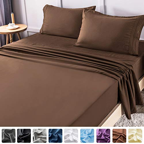 LIANLAM Twin Bed Sheets Set - Super Soft Brushed Microfiber 1800 Thread Count - Breathable Luxury Egyptian Sheets 16-Inch Deep Pocket - Wrinkle and Hypoallergenic-3 Piece(Twin, Brown)