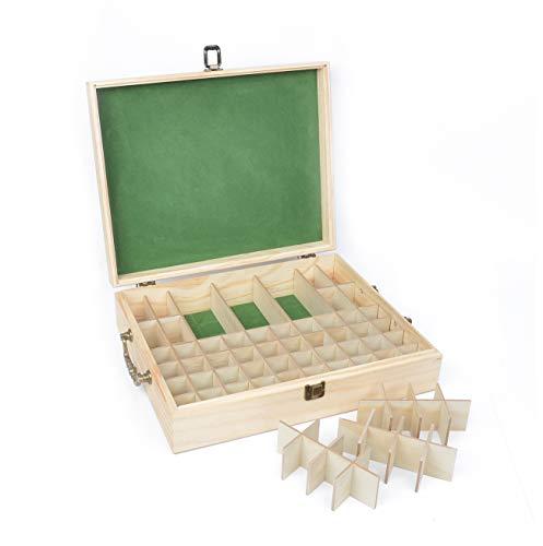 Beschan Hölzern 72 Löcher Aromatherapie Aufbewahrungsbox Ätherisches Öl Tasche Nagellack Kulturbeutel Kulturtasche
