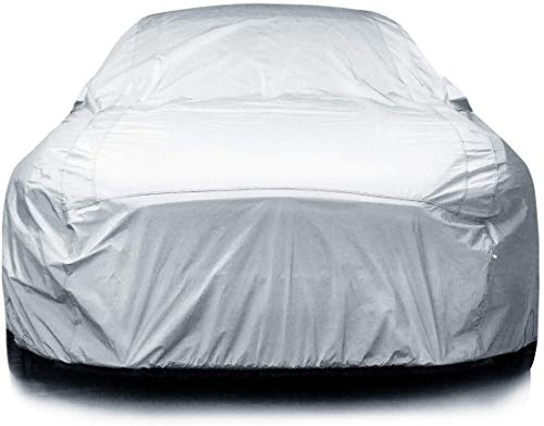 iCarCover 7-Layers All Weather Waterproof Snow Rain UV Sun Dust Protection Automobile Outdoor Coupe Sedan Hatchback Wagon Custom-Fit Full Body Auto Vehicle Car Cover - for Cars Up to 203""