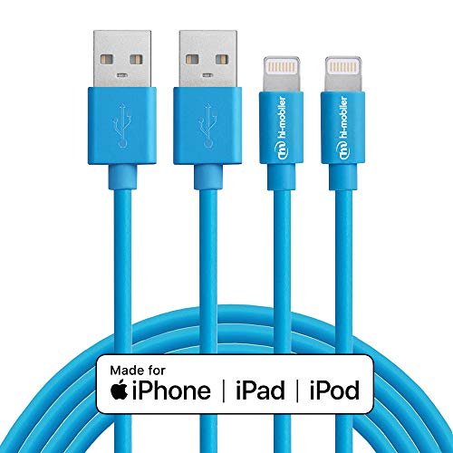 Hi-Mobiler iPhone Charger Cable,MFi Certified Lightning Cable- Nylon Braided Charger Cord Compatible for iPhone Xs, Max, XR, X, 8,7,6,6s Plus, 8, 7, 6, 6s, iPad,iPod and More -(10FT/Blue)