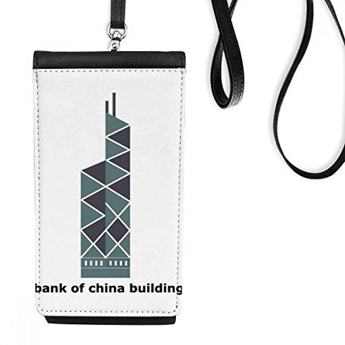 DIYthinker Hong Kong Bank Of China Faux lederen smartphone opknoping portemonnee zwart telefoon portemonnee cadeau