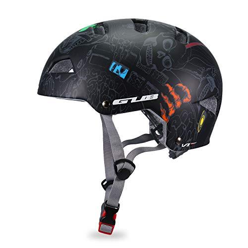 Babimax Fahrradhelm Schutzhelm Halbschalenform EPS+PC Gut Belüftet Größe Verstellbar für Radfahren Skateboard Klettern (Schwarz, M)