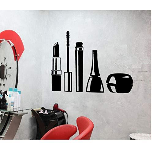 Lyhzxc Maquillage Cosmétique Fille Vinyle Adhésif Mural Imperméable Mascara Rouge À Lèvres Salon De Beauté Femme Décoration 28X43Cm