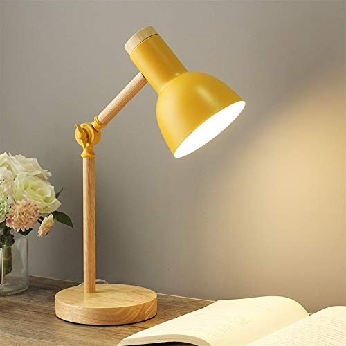 Nordic tafellamp Modern slaapkamer bedlampje Kids Kinderen Office Book Lamp Reading Study Lamp Industrial bureaulamp (Color : Yellow no bulb)