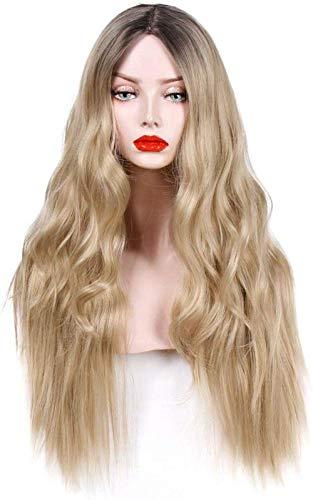 Perruque Femmes Fantaisie Femmes Longs Cheveux Bouclés Platine Blonde Ondulé Synthétique Doux Pleine Perruques Complètes Partie