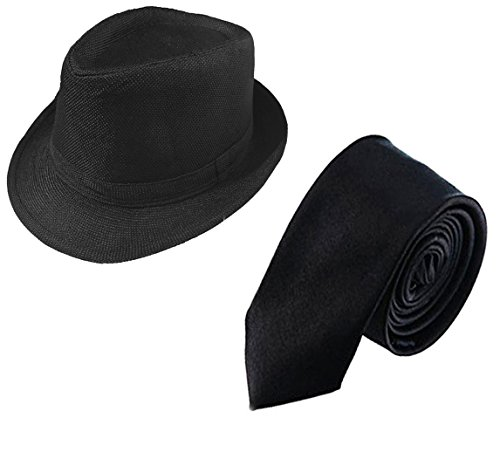 1920s Mens Gatsby Gangster Costume Accessories Set Panama Hat and Tie for Gangster Theme Party,Halloween,Christmas (Black hat+Black tie)