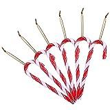 LIHAO - 12 bastones de azúcar para decoración de árbol de Navidad (plástico), color blanco y rojo