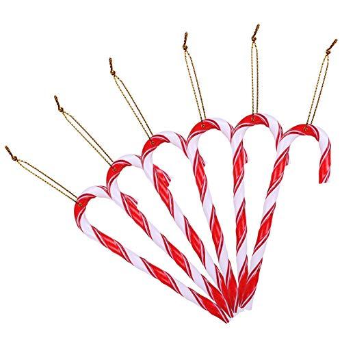 LEMESO 12 Piezas Bastones Caramelo de Navidad de Plástico Candy Cane Decoraciones para Árbol de Navidad Colgante Chuches Original -Rojo y Blanco