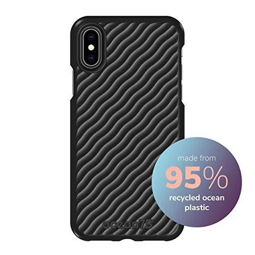 Ocean75 Umweltfreundlich Designed für iPhone X, iPhone XS Hülle, Ozean-inspirierte nachhaltige Handyhülle aus recycelten Fischernetzen - Tief Schwarz