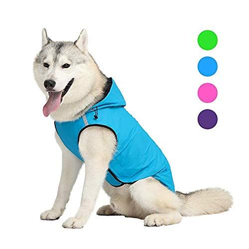 Aexit arnés para Perros Chubasquero para Perros Chubasquero para Perros Chaqueta Impermeable con Capucha Tira Reflectante Chubasquero Ropa para Mascotas Blue_3XL