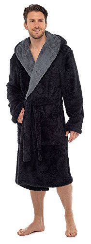 Tom Franks super zachte badjas met capuchon en knuffelfleece, nachtjas