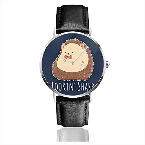 Unisex Hedgehog Looking Sharp Uhren Quarzlederuhr mit schwarzem Lederband
