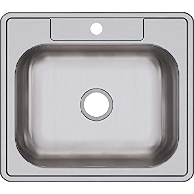 "Elkay D125221 22 Gauge Stainless Steel 25"" x 22"" x 6.5625"" Single Bowl Top Mount Kitchen Sink, 1 Hole, 25 x 22 x 6.5625"