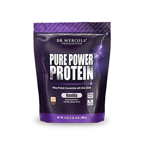Dr. Mercola Pure Power Protein Powder, Vanilla, 31 oz (1 IB. 15 oz.) (880 g), 22 Servings, BCAA, Natural Sweeteners Only, Non GMO, Soy Free, Gluten Free