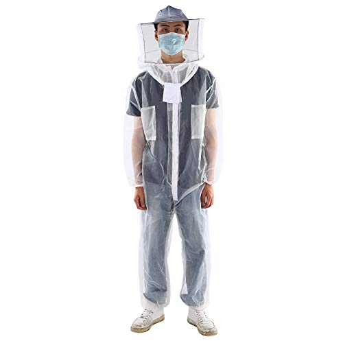 Liyeehao Imkerei-Anzug mit Kapuze, Anti Bee Bee Biting Transparente Einteilige Nylon-Mesh-Imkerei-Anzug Imker-Outfit Imkerei-Kit Bee Hive Tool Bee Kleidung Kleidung Zubehör(XL)