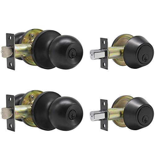 Probrico Black Keyed Alike Entry Knobs Front Door Locks Exterior Lockset and Single Cylinder Deadbolt Combination Set, 2 Pack