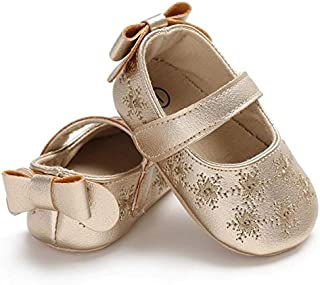 Baby Shoes Spring Autumn Baby Girl Cute Bow Embroider Flowers First Walkers Non-Slip Soft Princess Shoes, Size:12cm(Gold) Baby Items (Color : Gold)
