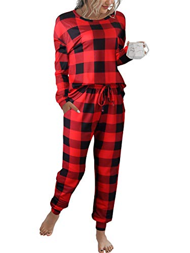 Prinbara Women's Pajama Sets Christmas Plaid Pajamas Long Sleeves Pullover Sleepwear Set 2 Pcs Lounge Jogger Set Nightwear Red 1PA94-hongheige-XL