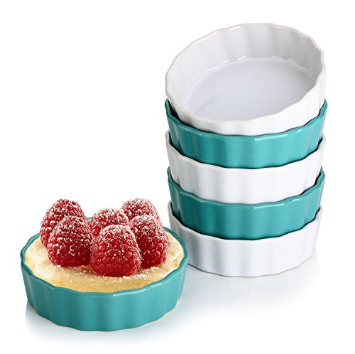 LIFVER 150 ml Keramik Auflaufförmchen, Creme Brulee schälchen, Souffle Schalen, Schale für Backofen, Ramekin Förmchen, 6er Set