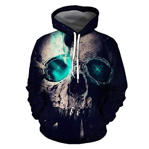 BAGFP Sweatshirt Hoodie 2020 Neue Halloween Schädel 3D-Druck Pullover Herren Hoodie Paar Baseball Uniform S-4Xl