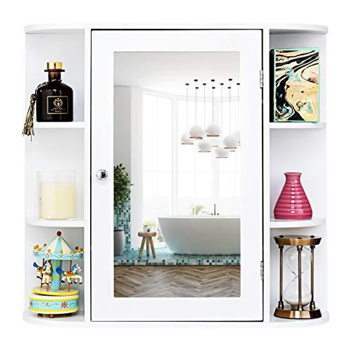 GIANTEX Spiegelschrank Badezimmer, Hängeschrank mit Spiegel, Badezimmerspiegel 10 Ablagen, Wandschrank mit Tür, Schminkschrank Holz, Badschrank Badezimmerschrank 65 x 17 x 63 cm, weiß