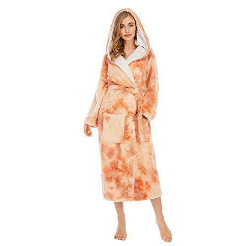 Women Colorful Tie-Dye Coral Fleece Double Pockets Thick Loose Hooded Home Robe Women's Sleepwear Yellow M Winter Fall Clothes 2020 Plus Size