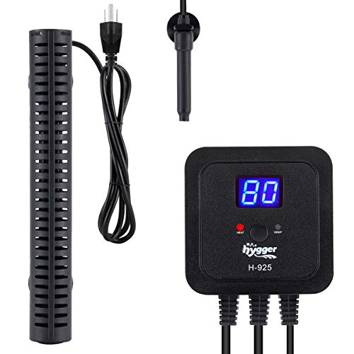 hygger 500W Aquarium Heater for Fresh-Water Salt-Water, with External Digital Display Thermostat Controller and Thermometer, Auto Quartz Submersible Heater for Fish Tank 60-120 Gallon