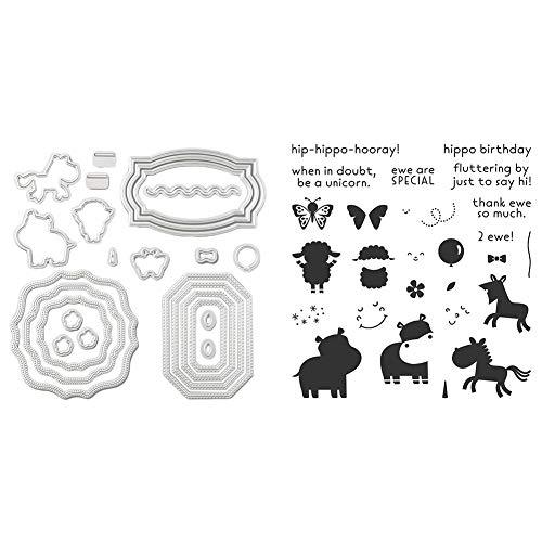 Scrapbooking Prägen Schneidwerkzeuge für DIY Scrapbooking Fotoalbum Papierkarte Basteln, Animal Cut Die Silikondichtungsset für Schneidwerkzeuge + Siegel)