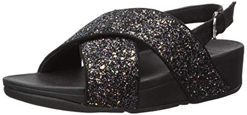 FitFlop Lulu Glitter Back-Strap Sandals, Sandalia con Pulsera Mujer, Negro (Black Mix 231), 39 EU