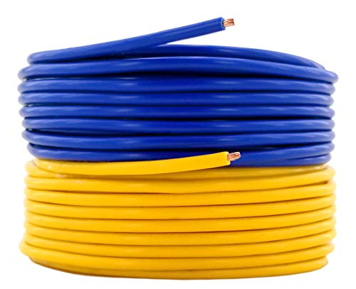 16 AWG (American Wire Gauge) Pure Copper Primary Cable for Car Audio Video 12 Volt Automotive Harness Trailer Drone LED Light Wiring. 25 feet Yellow, 25 ft Blue Combo (Also in Red & Black)