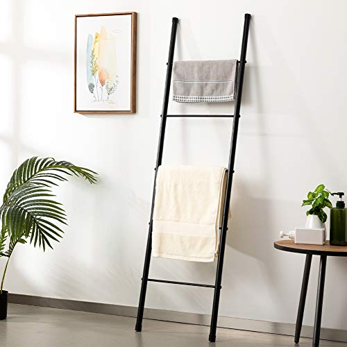 Marble Field 5-Layer Metal Standing Towel Ladder, Storage Towel Rack, Wall-Leaning Display Shelf, Bathroom Decoration, Black