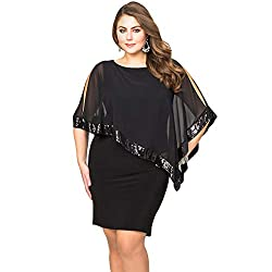 Black Sequins Shawl Large Size Cocktail Mini Dress