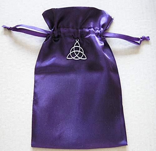 Quixotic Creations Tarot Rune Gift Bag with Irish Celtic Knot Triquetra Charm, Purple Satin, 5' X 8'
