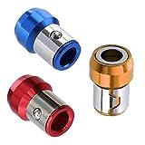 Uayasily Anillo Magnético Universal Full Metal Destornillador Plus Imán Azul Amarillo Rojo De Herramientas Magnético De 6,35 Mm Soporte De 3pcs