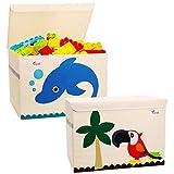 SITAKE Conjunto de 2 Caja de Almacenamiento para Niños -33 * 33 * 33cm Caja de Juguetes y Almacenamiento - Caja y Armario Organizador para niños (Delfines & Loros)
