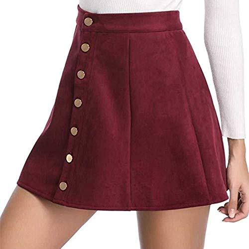 MCSZG Falda Femenina Femme Street Casual Ciervos Gamuza Falda con Botones Cintura Corta Llanura A-Line Minifalda Corta Damas nia Simple Falda Diaria