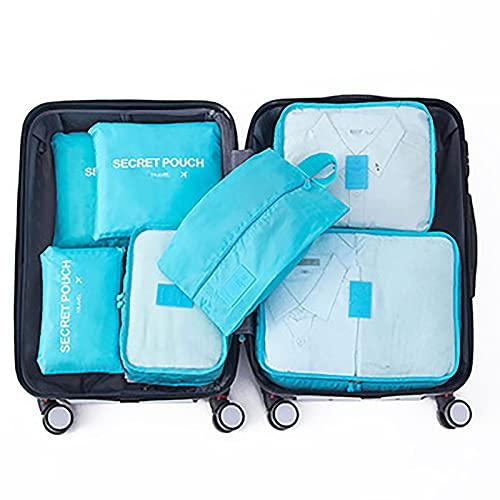 Organizadores de Viaje Cubos de Embalaje Organizadores para Maletas Travel Packing Cubes Equipaje de Viaje Organizadores Organizadores para el Equipaje 6-Pcs,Bright Blue